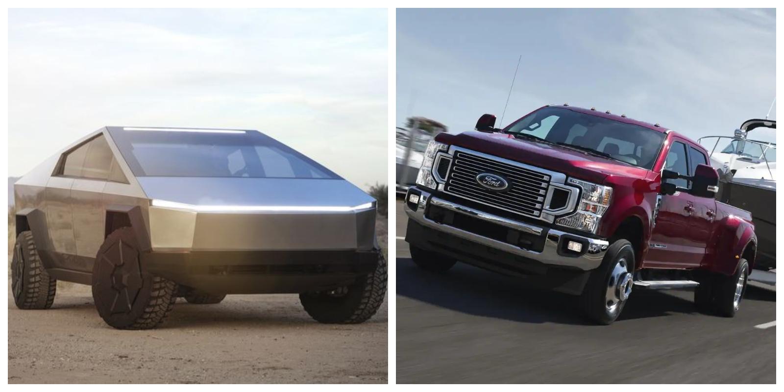 Tesla Cybertruck vs Ford F-250, F-350, F-450 comparison