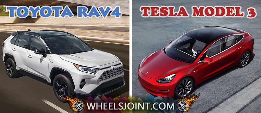 Toyota RAV4 vs Tesla Model 3 comparison; fuel economy ...